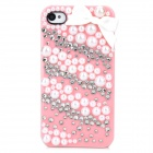Protective Resin + Crystal Back Case for Iphone 4 / 4S - Pink + White