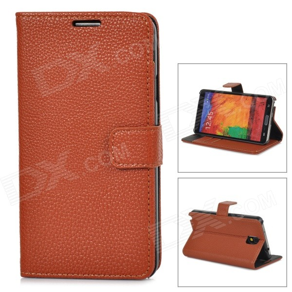 Lychee Grain Style Protective PU Leather Case for Samsung Galaxy Note 3 N9000 - Brown cool snake skin style protective pu leather case for samsung galaxy s3 i9300 brown
