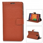 Lychee Grain Style Protective PU Leather Case for Samsung Galaxy Note 3 N9000 - Brown