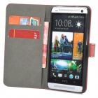 UK National Flag Style Protective PU Leather Case for HTC One M7 - Red + White + Blue