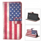 Retro US National Flag Style Protective PU Leather Case for HTC One Mini M4 - Red + White + Blue