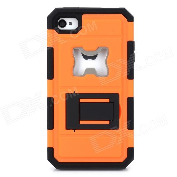 2-in-1 Protective Silicone + PC Back Case w/ Stand / Corkscrew for Iphone 4 / 4S - Orange + Black smkj protective plastic silicone back case w stand for iphone 6 4 7 black