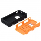 2-in-1 Protective Silicone + PC Back Case w/ Stand / Corkscrew for Iphone 4 / 4S - Orange + Black