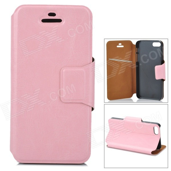 Protective Flip Open PU + TPU Case w/ Stand for Iphone 5 / 5s - Pink touchable flip tpu soft protective case for iphone 7 4 7 inch grey