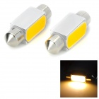 T10SV36-2W-V-12V 1W 90lm 3500K 1-COB LED Warm White Car Reading Lamp - Silver + Yellow (2 PCS / 12V)