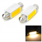 T10SV39-2W-V-12V 90lm 3500K 1-COB LED Warm White Car Reading Lamp - Silver + Yellow (2 PCS / 12V)