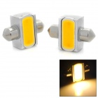 T10SV31 Festoon 31mm 90lm 3500K 1-COB LED Warm White Car Reading Lamp - Silver + Yellow (2 PCS)