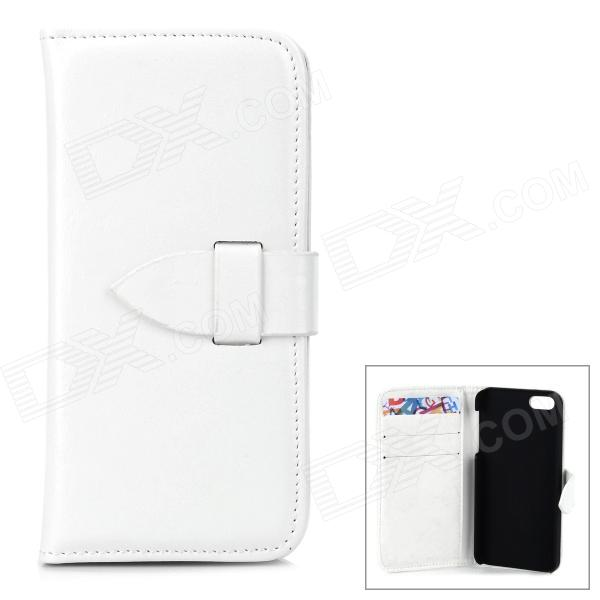Protective Flip Open PU + PC Case w/ Card Slots for Iphone 5 / 5s - White protective flip open pc pu leather case w holder card slot for iphone 5 5s black