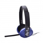 MS-310 3.5mm Stereo Computer Adjustable Headphone w/ Microphone - Black + Blue