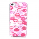Red Lips Pattern Protective PC + Epoxy Back Case for Iphone 4 / 4S - Red + White