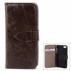 Protective Flip Open PU + PC Case w/ Card Slots for Iphone 5 / 5s - Deep Brown
