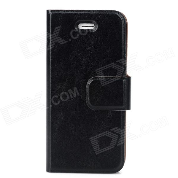 Protective Flip Open PU + TPU Case w/ Stand for Iphone 5 / 5s - Black protective pu case w stand strap for iphone 5 5s black
