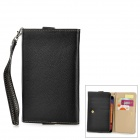 Stylish Flip-open PU Leather Purse Case w/ Holder + Card Slot for Samsung i9200 N7000 - Black