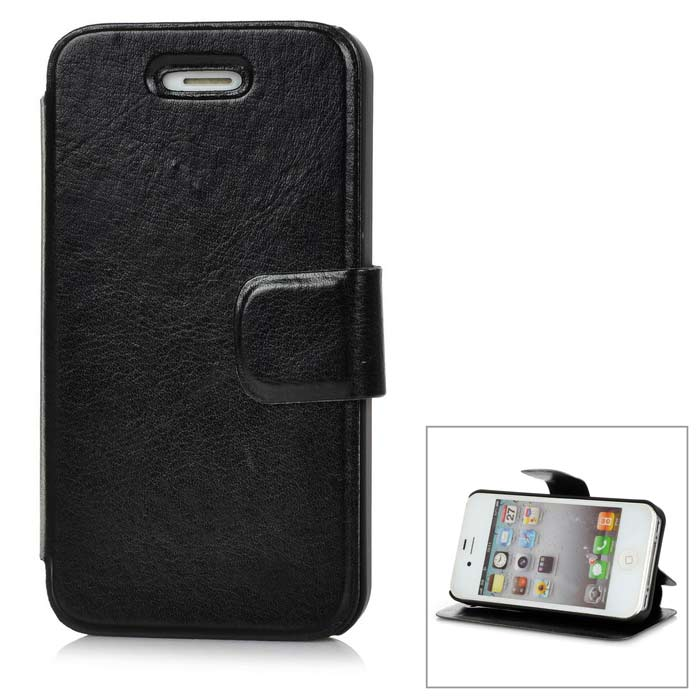 Protective Flip Open PU + TPU Case w/ Stand for Iphone 4 / 4S - Black protective pu leather flip open case for iphone 4 4s black