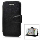 Protective Flip Open PU + TPU Case w/ Stand for Iphone 4 / 4S - Black