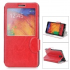 Stylish Flip-open PU Leather Case w/ CID Window + Holder for Samsung Note 3 - Red
