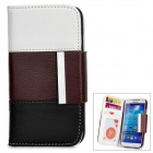Stylish Flip-open Joint-color PU Purse Case w/ Card Slot for Samsung S4 i9500 - Multicolored