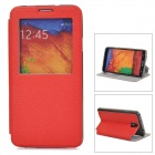 Bark Grain Protective Case w/ Auto-Sleep / Display Window for Samsung Galaxy Note 3 N9000 - Red