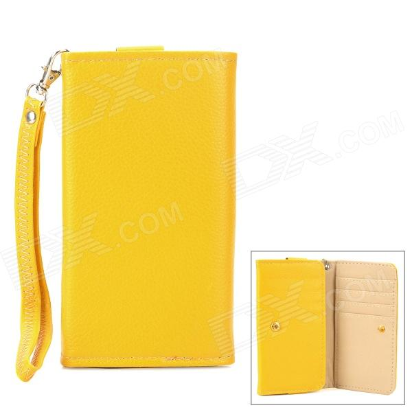 Wallet Style Protective PU Leather Case w/ Strap for Samsung i9300 / i9500 + More - Yellow universal protective pu leather case satchel bag for iphone 4 4s 5 samsung i9300 i9500