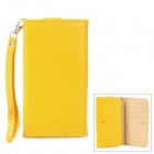 Wallet Style Protective PU Leather Case w/ Strap for Samsung i9300 / i9500 + More - Yellow