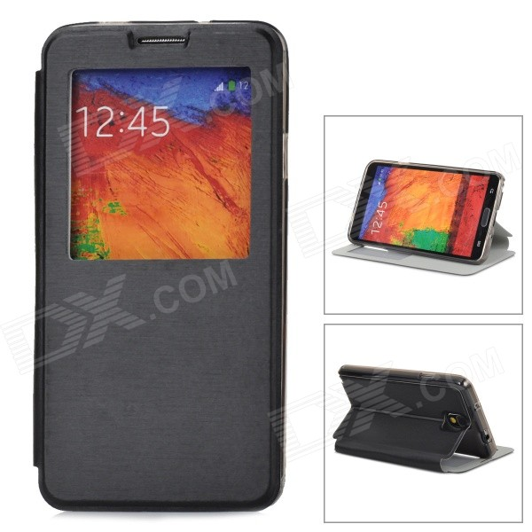 Protective PU Leather Case w/ Auto-Sleep / Display Window for Samsung Galaxy Note 3 N9000 - Black