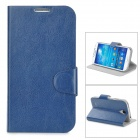 Simple Plain Flip-open PU Leather Case w/ Card Slot + Holder for Samsung S4 i9500 - Deep Blue