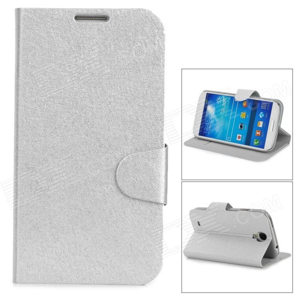 Stylish Flip-open PU Leather Case w/ Card Slot + Holder for Samsung S4 i9500 - Silver stylish flip open pu leather case w card slot holder for htc one max t6 red