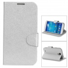 Stylish Flip-open PU Leather Case w/ Card Slot + Holder for Samsung S4 i9500 - Silver