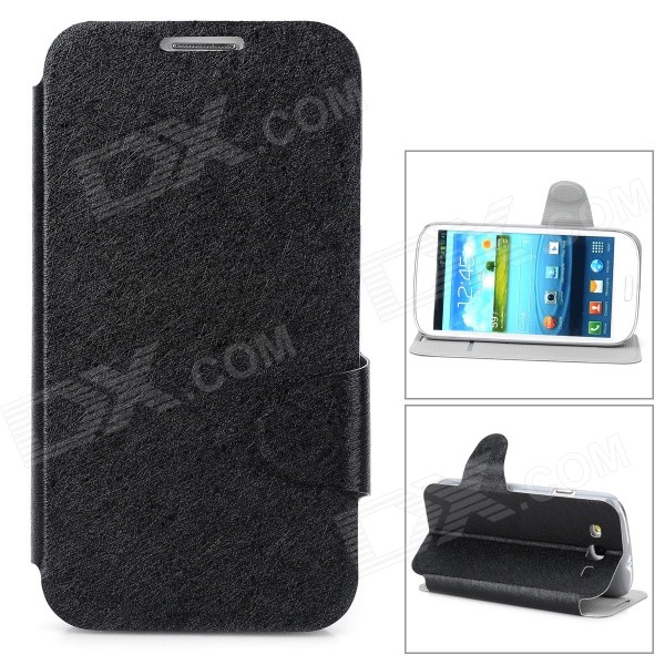Protective Flip Open PU Leather Case w/ Stand / Card Slot for Samsung i9300 - Black проводной и dect телефон us 6839 ic