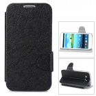 Protective Flip Open PU Leather Case w/ Stand / Card Slot for Samsung i9300 - Black