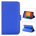 Stylish Flip-open PU Leather Case w/ Holder + Card Slot for Samsung Note 3 - Blue