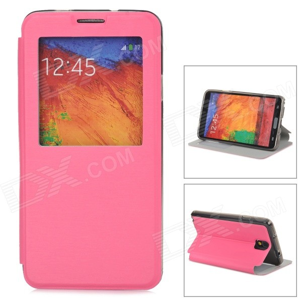 Protective PU Leather Case w/ Auto-Sleep / Display Window for Samsung Galaxy Note 3 - Deep Pink enkay protective tpu back case w holder stand for samsung galaxy note 3 n9000 pink
