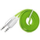 3.5mm Male to Male Audio Connection Flat Cable - Green + White + Silver (1m)