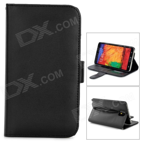 Stylish Flip-open PU Leather Case w/ Holder + Card Slot for Samsung Note 3 - Black metal ring holder combo phone bag luxury shockproof case for samsung galaxy note 8