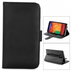 Stylish Flip-open PU Leather Case w/ Holder + Card Slot for Samsung Note 3 - Black