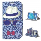 Leopard Mustache Pattern Protective PU Leather Case for Samsung Galaxy S4 i9500 - Deep Blue + Green