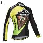 Monton Cycling Tiger Pattern Long Sleeve Jersey for Men - Green + Black + White (L)