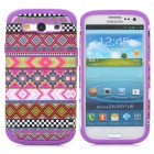 Weaving Pattern Protective Plastic + Silicone Case for Samsung Galaxy S3 i9300 - Purple