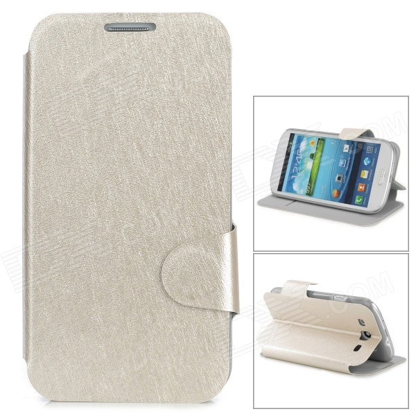 Stylish Flip-open PU Leather Case w/ Holder + Card Slot for Samsung i9300 - Light Golden positive qi wireless charger pad universal wireless receiver for micro usb cellphone white