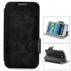 Simple Plain Flip-open PU Leather Case w/ Card Slot + Holder for Samsung i9300 - Black