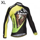 Monton Cycling Tiger Pattern Long Sleeve Jersey for Men - Green + Black + White (XL)