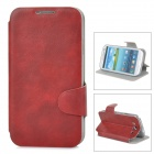 Protective PU Leather Case w/ Card Holder Slot for Samsung i9300 - Brown