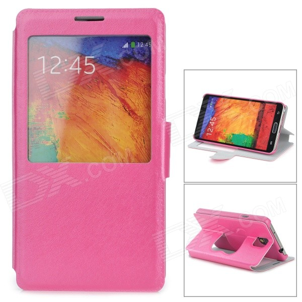 Stylish Flip-open PU Leather Case w/ CID Window + Holder for Samsung Note 3 - Deep Pink protective pu leather flip open case w stand for samsung note 3 n9000 deep pink light green