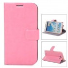Protective PU Leather Case w/ Card Holder Slots for Samsung N7100 - Pink