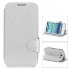 Stylish Flip-open PU Leather Case w/ Holder + Card Slot for Samsung i9300 - Silver