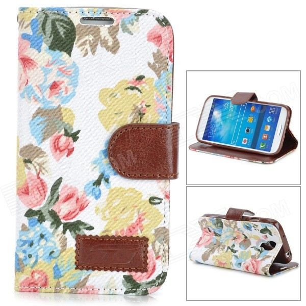 Fashionable Floral Pattern Flip-open PU Case w/ Holder + Card Slot for Samsung S4 - Multicolored bamboo pattern protective pu flip open case w stand for samsung s4 mini deep brown
