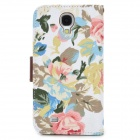 Fashionable Floral Pattern Flip-open PU Case w/ Holder + Card Slot for Samsung S4 - Multicolored