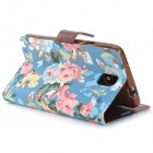 Fashionable Floral Pattern Flip-open PU Case w/ Holder + Card Slot for Samsung Note 3 - Multicolored
