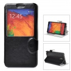 Protective PU Leather Case w/ Auto-Sleep / Display Window for Samsung Galaxy Note 3 - Black