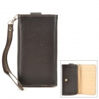 Multi-Functional Cell Phone PU Bag for Iphone / Samsung / HTC / Sony - Black
